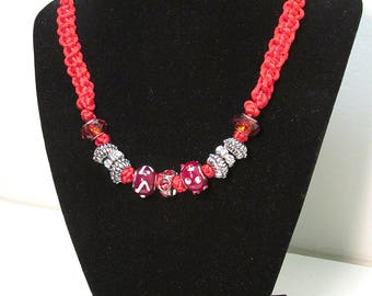 Red Bauble Macrame Necklace