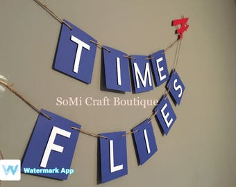 Time Flies Banner | Going Away Party | Pilot Party | Flight Attendant | Birthday Party | Birthday Decor
