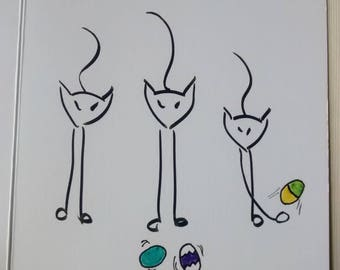 Easter Cat I Tre Gattini Greeting Cards