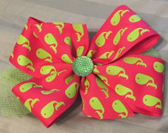 Pink bow with Green whale and accents