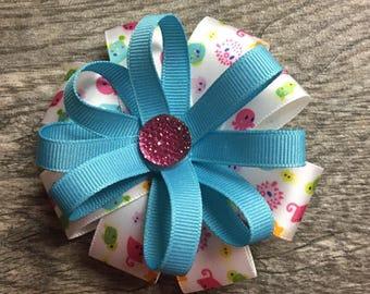 Ocean theme hair bow, teal, white