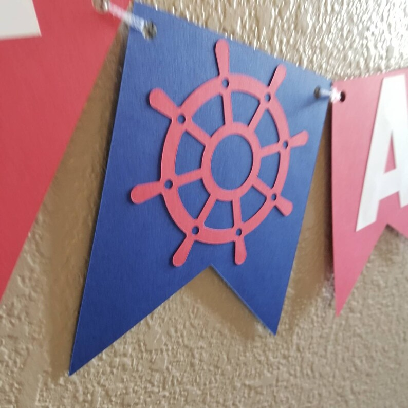 navy and red nautical nautical baby shower nautical banner It/'s a boy Ahoy It/'s a Boy Banner nautical decorations