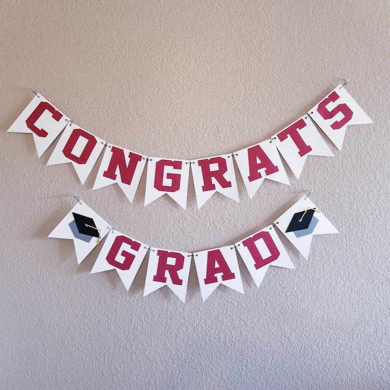Graduation Banner Maroon and Black Graduation Decorations Graduation Party Decorations Congrats Grad