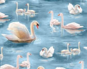 Essentials VI Swans Birds Hearts Black Cotton Fabric Print by the Yard D669.19
