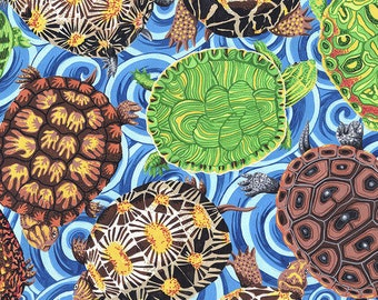 Turtle fabric by half yard, ocean fabric, printed quilting cotton, lake quilting fabric, sea turtle sewing fabric, turtle quilting fabric