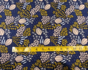 Ocean fabric by half yard, organic cotton, seashells quilting cotton, blue quilting fabric, Underwater by Cloud 9 sewing fabric