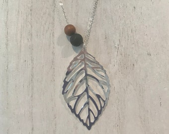 Lava and Sandalwood Leaf Charm Diffuser Necklace