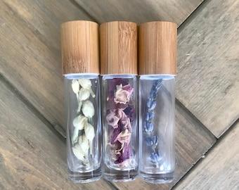 Organic Floral Roller Bottles, Lavender, Rose Petals, Jasmine Roller Bottles
