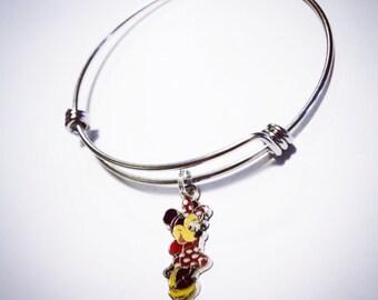 Minnie Mouse Bangle, Minnie Mouse Bracelet, Disney Bangle, Women's Bracelet, Adjustable Bangle Bracelet, Jewelry,Bracelet,Bangle,Gift,Disney