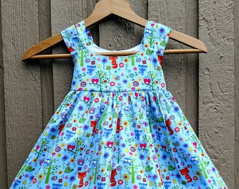 spring dress, toddler spring dress, baby woodland dress, woodland dress, woodland animal dress, woodland animal summer dress, summer dress,