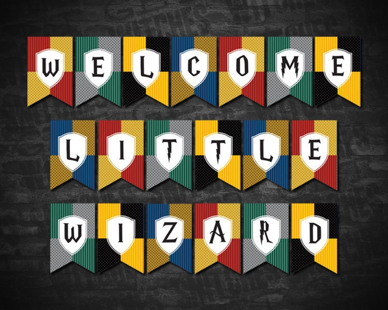 graphic about Printable Baby Shower Banners named Welcome Minor Wizard Printable Little one Shower Banner, 5.5\