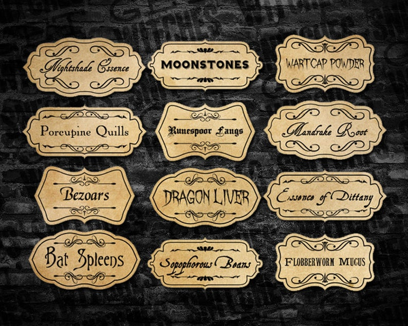 image regarding Harry Potter Apothecary Labels Free Printable identify Printable Potion Component Labels, Magic Potion Element Labels, Magical Potion Social gathering Printables, Summer time Social gathering Potions, Fast Down load