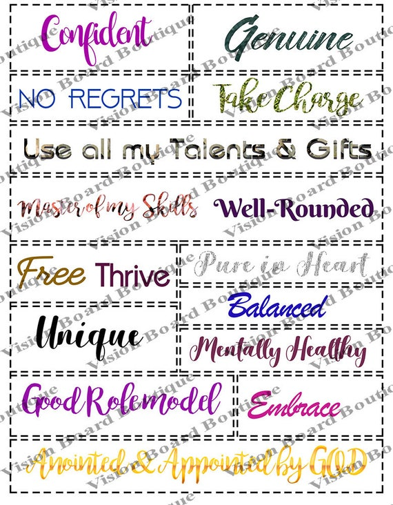 Vision board quote kit, printable quotes, motivation, spiritual goals life  goals- made in USA By: vision board boutique {glam}