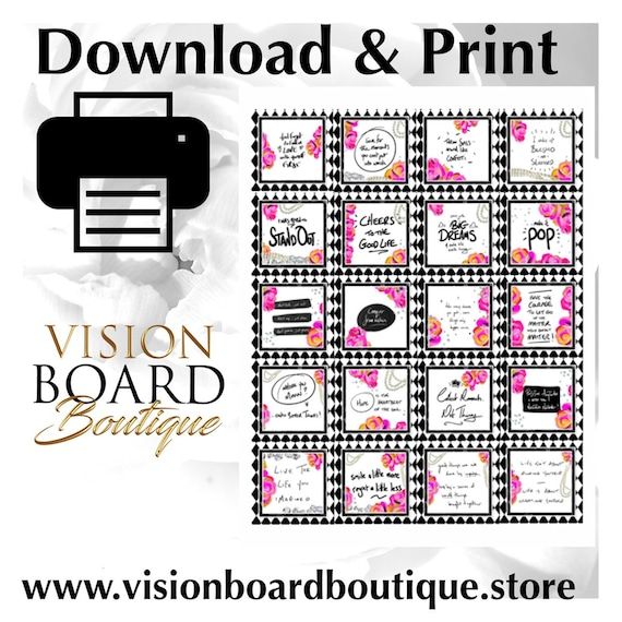 Quotes   White   Printable Quotes   Vision Board kit   Affirmations    Manifesting   Stickers  Cut outs  vision board 2019  vision boards
