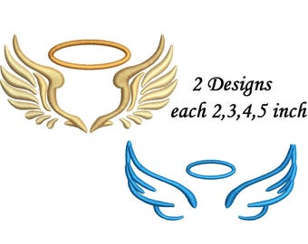 Angel wings embroidery design etsy angel wings embroidery design 2 designs 4 sizes each machine embroidery instant download thecheapjerseys Images