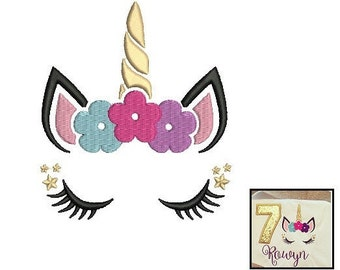 Unicorn Face Embroidery Design - 3 sizes instant download