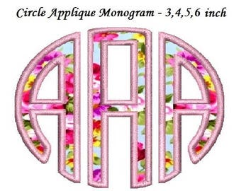 3 Letter Circle Applique Monogram Machine Embroidery Large Font -Instant Download- 3,4,5,6 inch