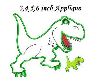 T-rex Dinosaur Applique Embroidery Design,Dinosaur embroidery Dinosaur Applique - 4 sizes instant download