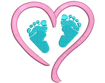 Baby feet Embroidery Design - 4 sizes instant download
