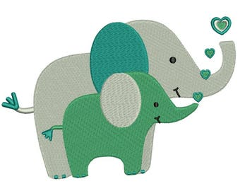 Mother and Baby Embroidery Design - Baby Elephant ~ Elephant Embroidery Design - Instant Download