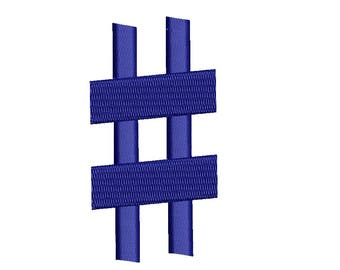 Hash Tag Embroidery # Pound Sign design - Instant Download