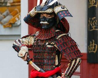 Japanese Samurai leather armor; FULL Samurai costume Helmet Mask Cuirass Pauldrons Vambraces Skirt Greaves; Leather samurai costume & Samurai armor | Etsy