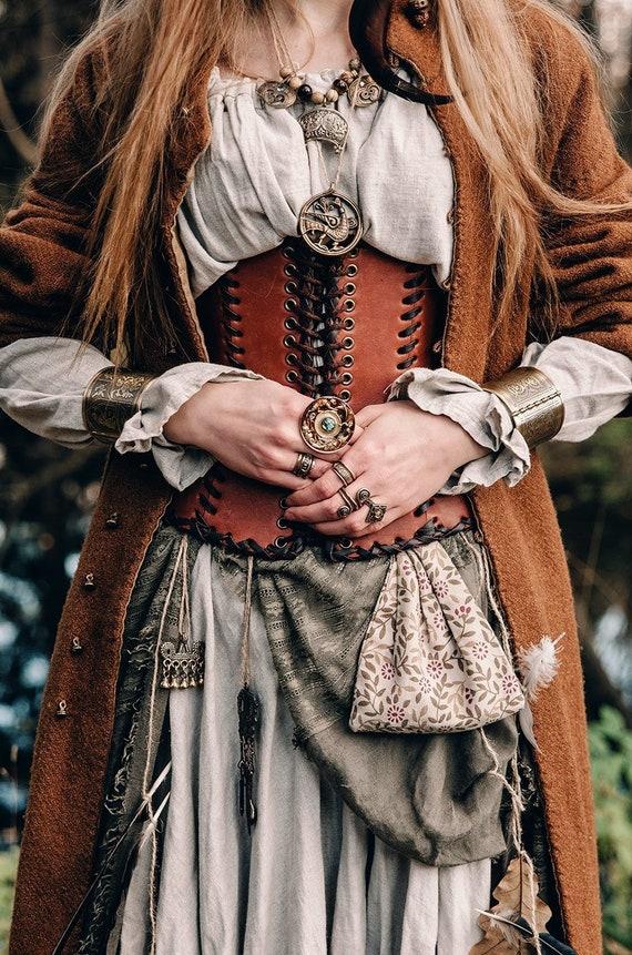 Leather corset belt \u201cForest witch\u201d; shieldmaiden medieval corset; renaissance women viking clothes;  leather kidney belt