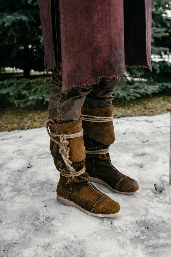 CINTURA GIFT!!! Stivali medievali in pelle alta al ginocchio con cravatte; Scarpe Vichinghi; Scarpa celtica; Scarpe Larp; Costume Cosplay; costume
