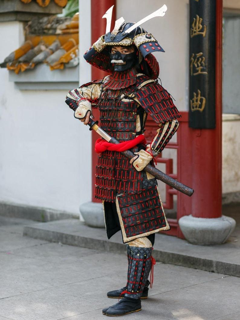Japanese Samurai Leather Armor Full Samurai Costume Helmet Etsy