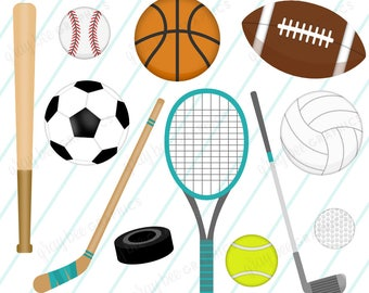 SALE! Sports Equipment-Sports Balls-Sports-Clipart Set, Commercial Use, Instant Download, Digital Clipart, Digital Images- CP230