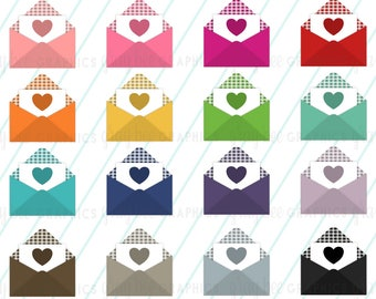 SALE! Envelope-Open Gingham Envelope-Mail-Clipart Set, Commercial Use, Instant Download, Digital Clipart, Digital Images- MP227