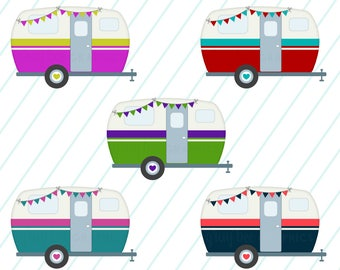 SALE Vintage Camper With Bunting Caravan Clipart Set Commercial Use Instant Download Digital Images CP241