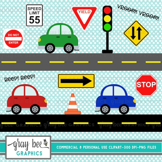 Cars Road Signs Cute Cars With Road Signs Clipart Etsy