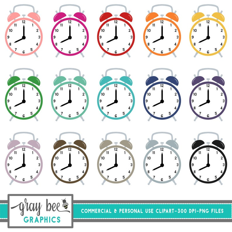 Alarm Clock-Retro Clock- Clock- Clipart Set, Commercial Use, Instant  Download, Digital Clipart, Digital Images- MP208