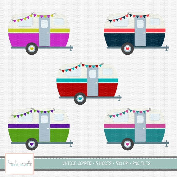 Vintage Camper-Camper with Bunting-Camper-Caravan-Clipart Set, Commercial  Use, Instant Download,Digital Clipart, Digital Images- CP241
