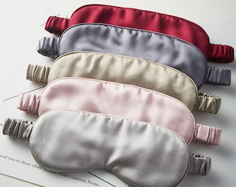 Isabella 20 Momme Silk Sleep Mask/ Mulberry Silk Eye Mask/Silk Blindfold/Pink Silk Mask/Pink Satin Mask/Blush Sleep Mask