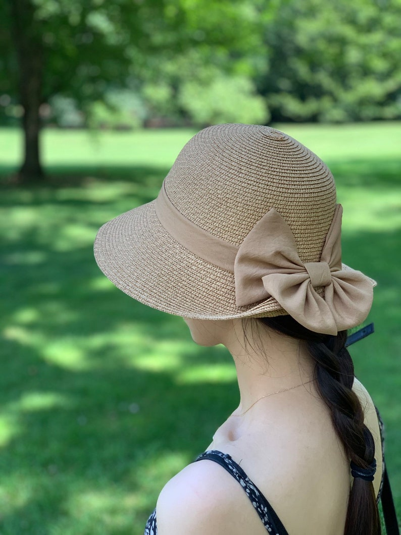 a38b98b0b Vintage Summer Straw Hat, Beach Hat with Bow, Sun Visor Hat, Summer Hat  with Ribbon, UV Protection, Fashion Sun Hat