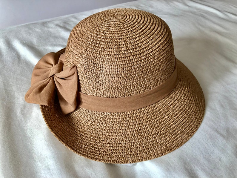ece450bc4 Vintage Summer Straw Hat, Beach Hat with Bow, Sun Visor Hat, Summer Hat  with Ribbon, UV Protection, Fashion Sun Hat