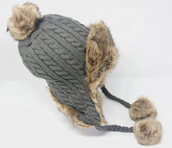 bc513d2c59f Winter Trapper Hat with Faux Fur Pom Pom and Lining