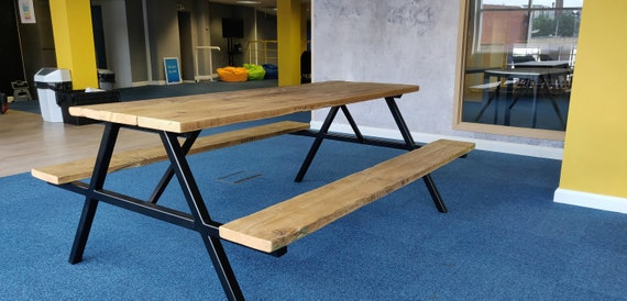 Super Reclaimed Wood And Steel Picnic Bench Industrial Chic Table Kitchen Table Conference Table Dining Table Creativecarmelina Interior Chair Design Creativecarmelinacom