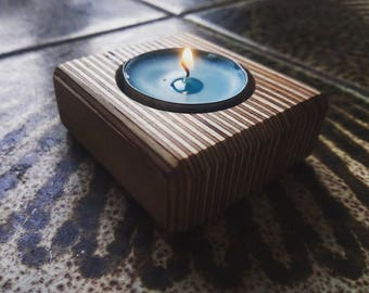 Birch Plywood Candle Holder. Tea Light Holder