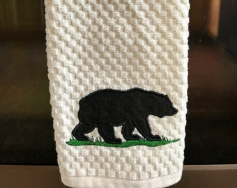 Bear Silhouette Applique Kitchen Towel Kitchen Decor, Gift Dish Dryer Bathroom Towel Wildlife, Lodge, Cabin, Camping Made in USA