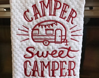 Camper Sweet Camper Hand Towel Custom Embroidery, Vintage Camper, Glamping, Camping, Sisters On The Fly, Tin Can Tourists, Shasta