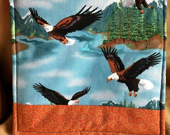 Bald Eagle Wildlife Pot Holder Hot Pad Trivet Thick Durable Kitchen Dining Camping - Raptor, Snow Capped Mountains, Water, Trees