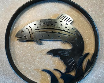 Leaping Trout Portal Metal Wall Art, Wall Decor, Fishing, cabin, camper, fisherman, Ironwork, one of a kind, unique metal art, blacksmith