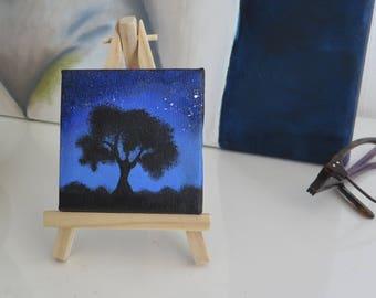 Midnight Tree tiny painting