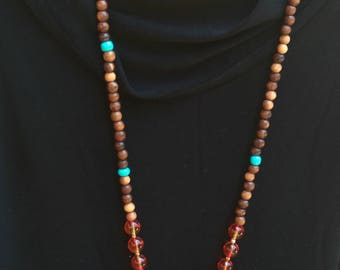 Wooden Beads Tibetan With a Leather Tassel