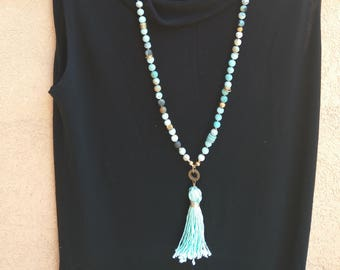 Amazonite Beads, gold beads & gold details. Hand made Tassel