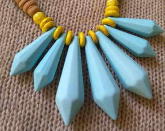 Beaded Necklace. Wooden beads combined with varied beads