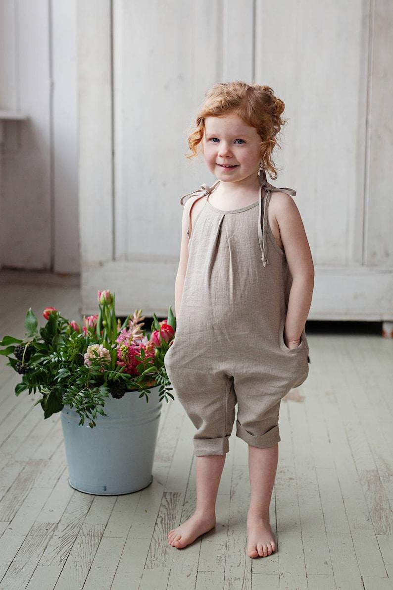 9e479945faa Linen jumpsuits Harem Girls jumpsuits 1st birthday outfit